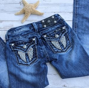 MISS ME Angel Wings Jeans. Size 8. EUC